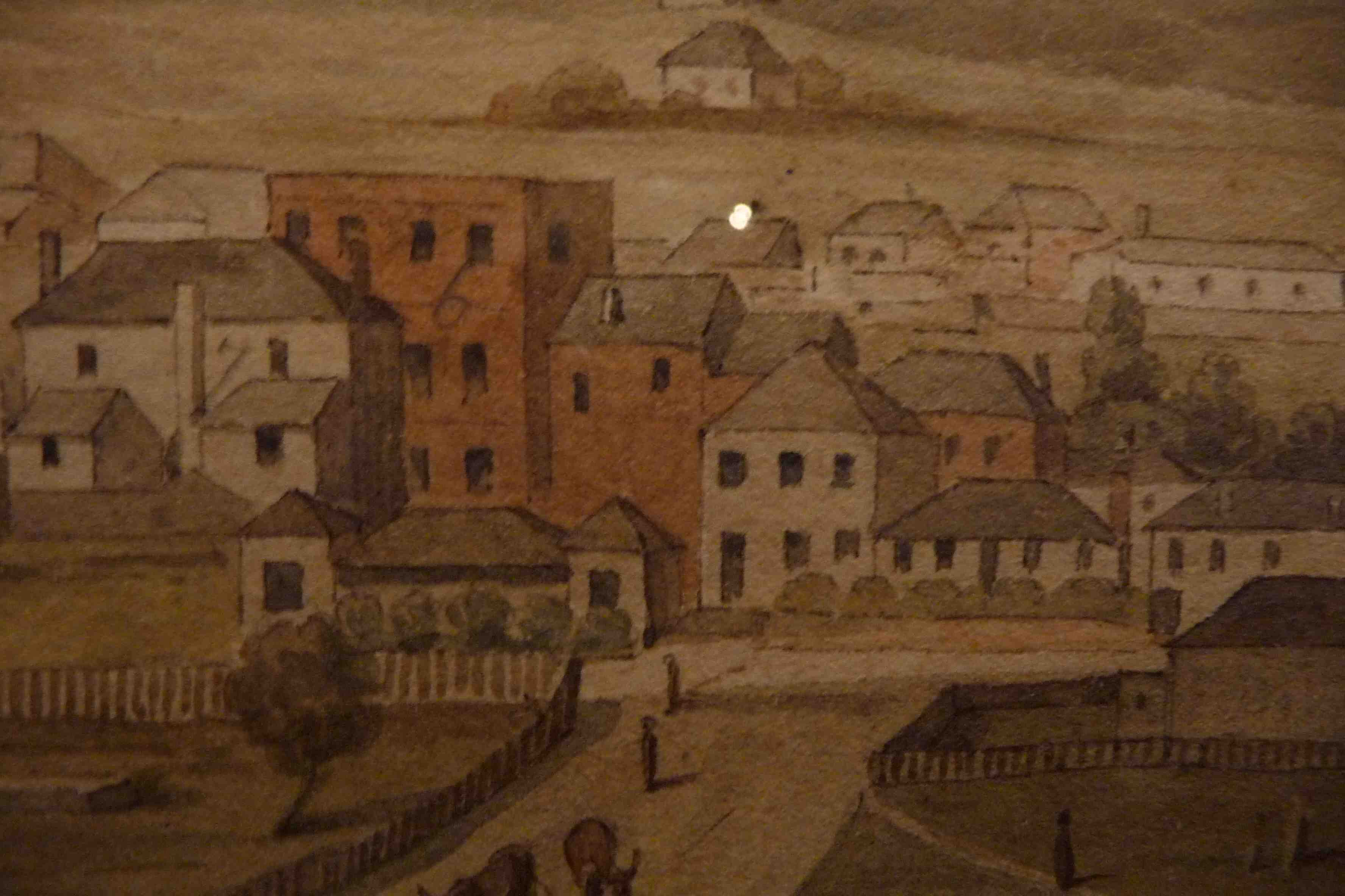 Detail from an Augustus Earle painting of Hobart c1820, showing Dr. Birch's house [n0. 6]