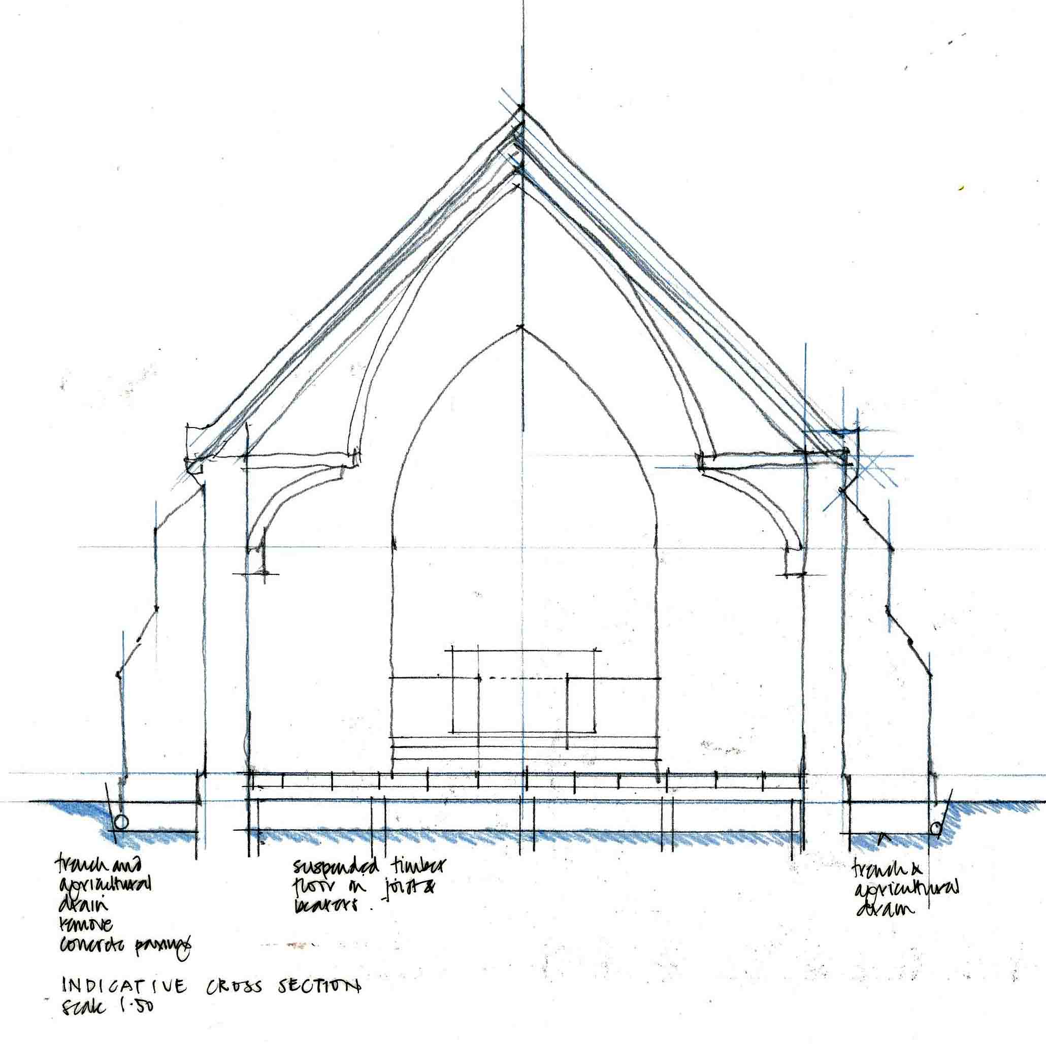 Section of the church showing the proposed new floor